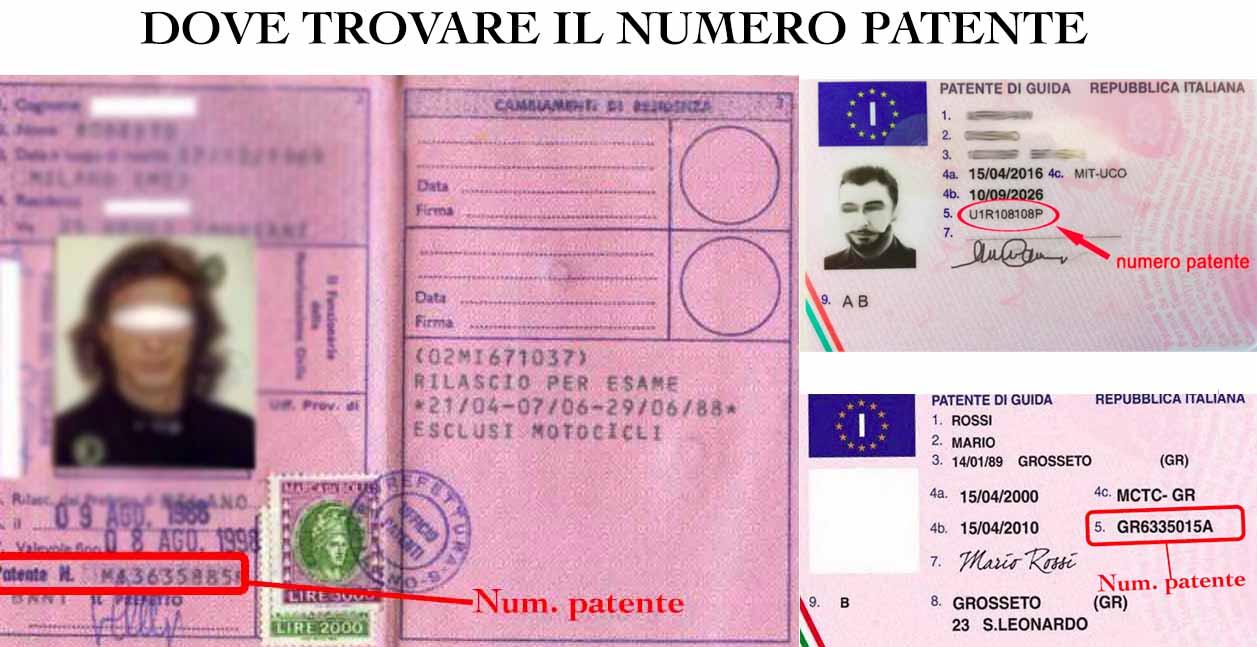 dove si trova il numero patente